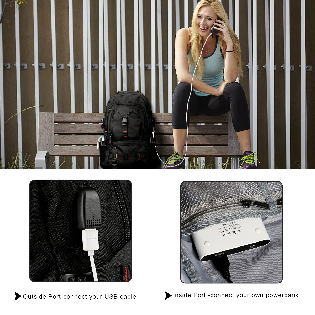 Fashion Laptop Backpack Contains Multi-Function Pockets, Tocode Durable Travel Backpack with USB Charging Port Stylish Anti-Theft School Bag Fits 17.3 Inch Laptop Comfort Pack for Women & Men–Black I by Tocode (Image #3)