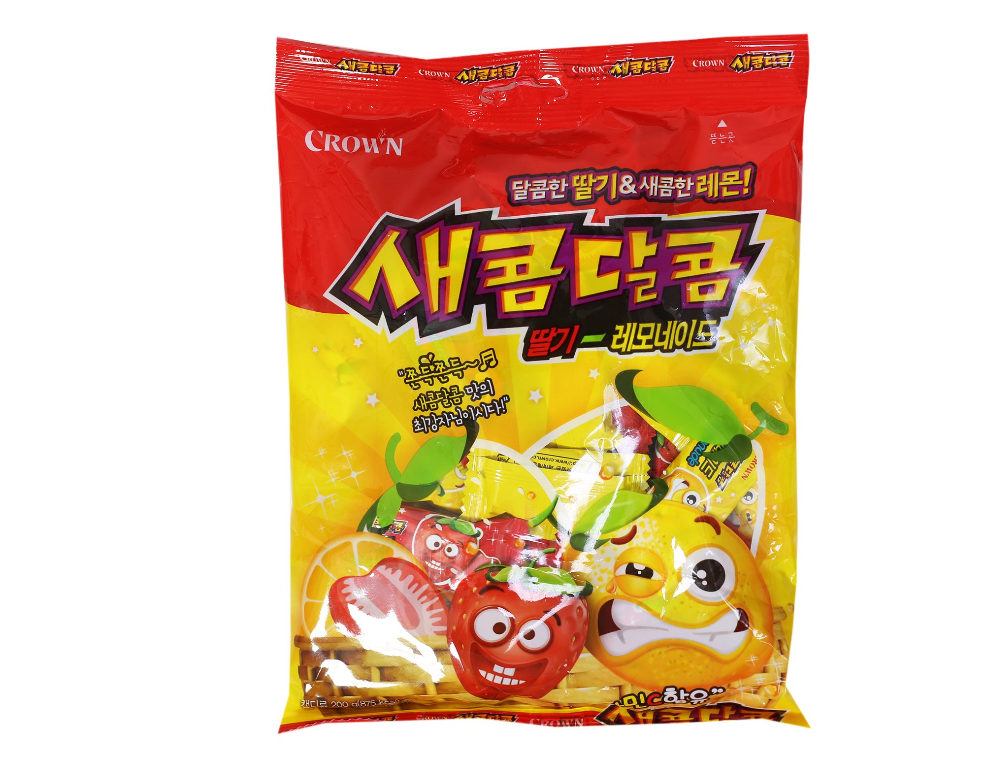 Korean Strawberry and Lemonade Flavored Chewy Sweet and Sour Candy 200g (10 Pack) by Crown