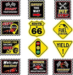 12 Pieces Racing Signs Race Car Party Decorations, 9.8-11.8 Inch Laminated Car Racing Decoration, Traffic Signs Cutouts, Road Racing Themed Party Signs, Racing Cutouts with 40 Glue Point Dots