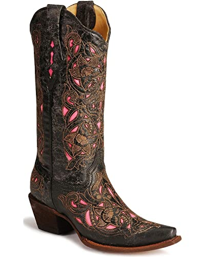 59c3e1d32f6 CORRAL Women's Floral Laser Inlay Goat Snip Toe Western Boots