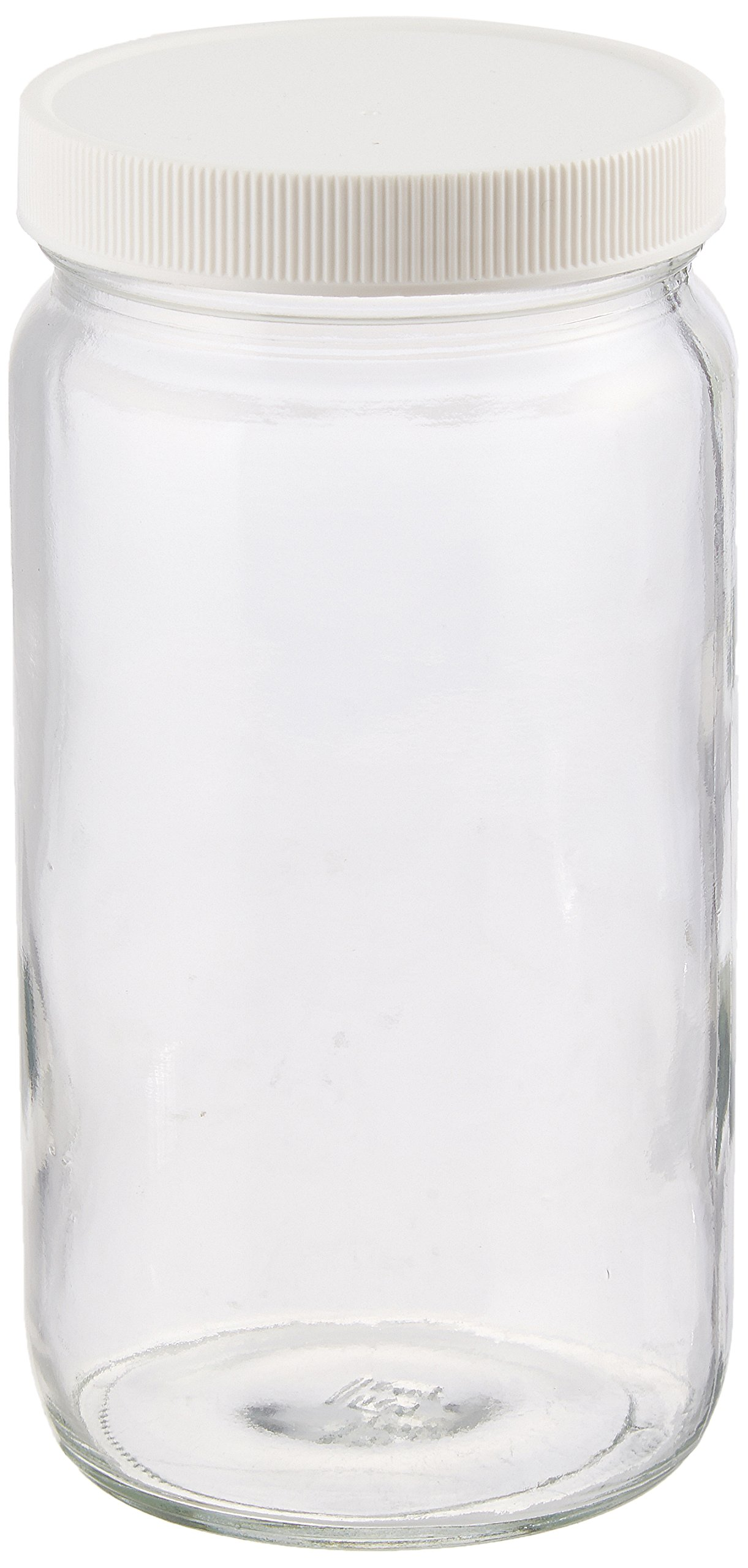 JG Finneran D0096-16 Clear Borosilicate Glass Tall Straight Sided Standard Wide Mouth Jar with White Polypropylene Closure, Unlined, 70-400mm Cap Size, 16oz Capacity (Pack of 12)