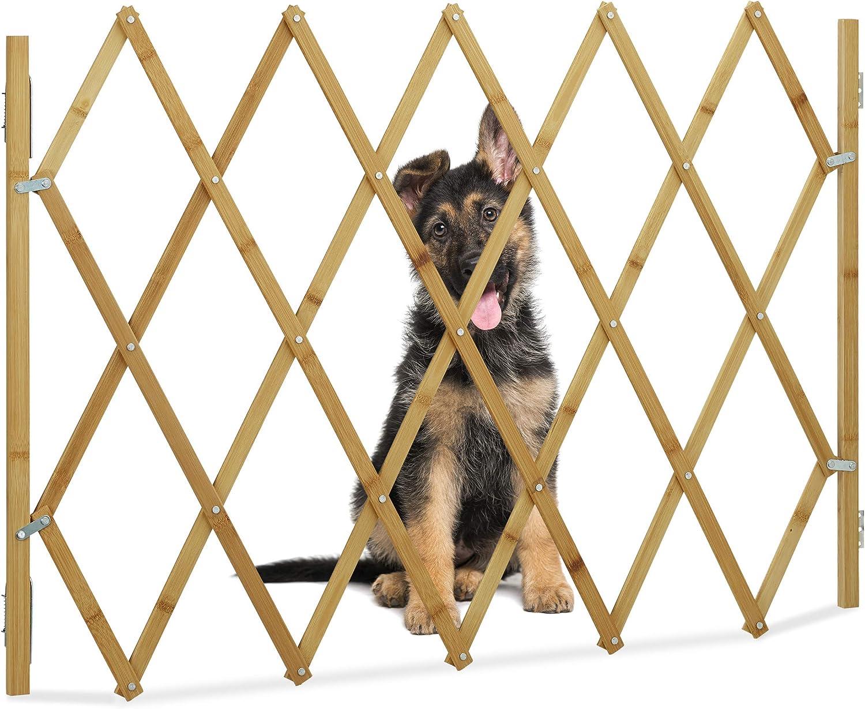 Relaxdays Barrera Perros, Puerta Seguridad Escalera, Valla Extensible hasta 116,5 cm, Bambú, 1 Ud, 82,5 cm, Marrón
