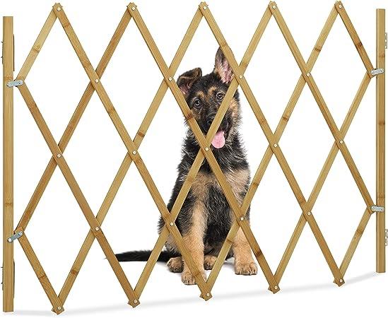 Relaxdays Barrera Perros, Puerta Seguridad Escalera, Valla Extensible hasta 116,5 cm, Bambú, 1 Ud, 82,5 cm, Marrón: Amazon.es: Hogar