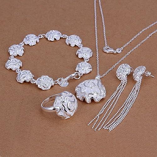 cab3e893e863 joyliveCY 2016 la moda mujer elegante 925 bañado en plata joyería Set  Collar Pulsera Anillo de cadenas