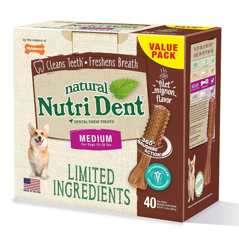 Nutri Dent Limited Ingredient Dental Dog Chews Medium Size Filet Mignon or Fresh Breath Flavors