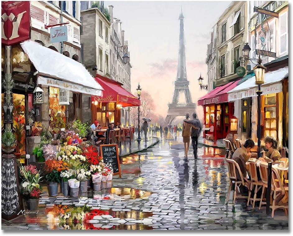 BOSHUN Pintar por Numeros para Adultos Niños Pintura por Números con Pinceles y Pinturas Decoraciones para el Hogar Calle Romántica de París (16*20 Pulgadas, Sin Marco)