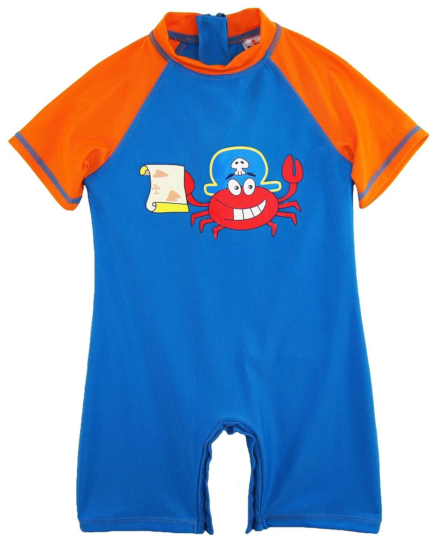 Sweet & Soft Little Boys' Pirate Crabby Animal Print 1-Piece Swim Rashguard, Navy / Grey, 4T