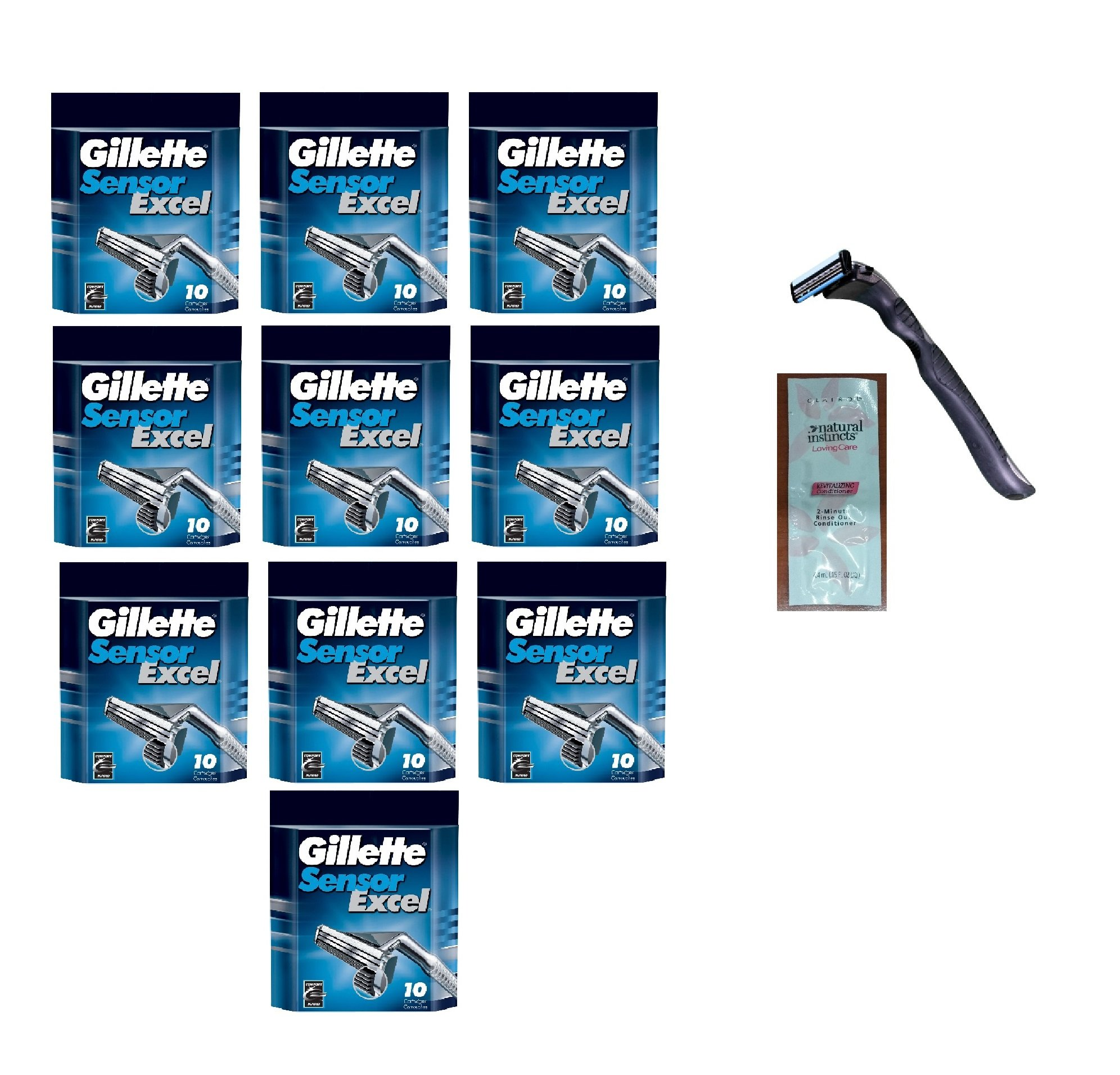 Compatible Razor Handle + Sensor Excel Refill Razor Blade Cartridges, 10 Ct. (handle holds Sensor Excel Blades) (Pack of 10) with FREE Loving Color trial size conditioner . World's Best Razor Holder ! Quality that is Out of This World ! Durable & Rugged !