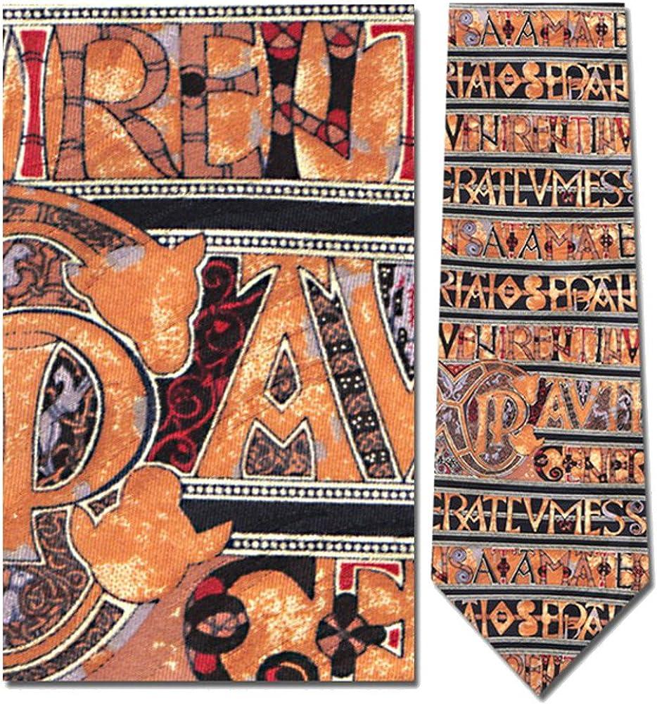 Mens 100/% Silk Horizontal Book of Kells Manuscript Tie Necktie
