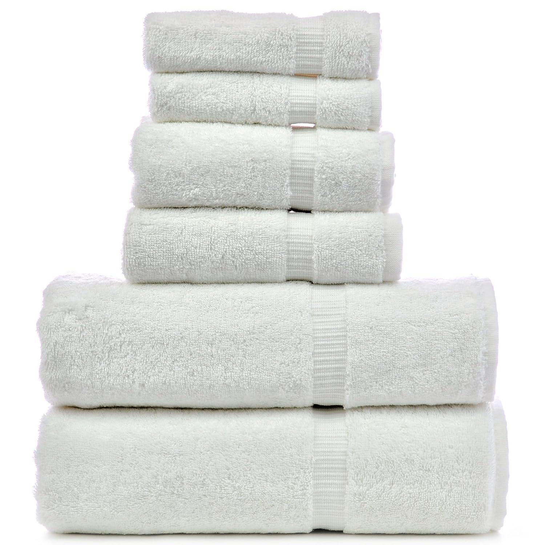 Amazon com luxury hotel spa towel turkish cotton bath towel bundle white 6 piece towel set home kitchen
