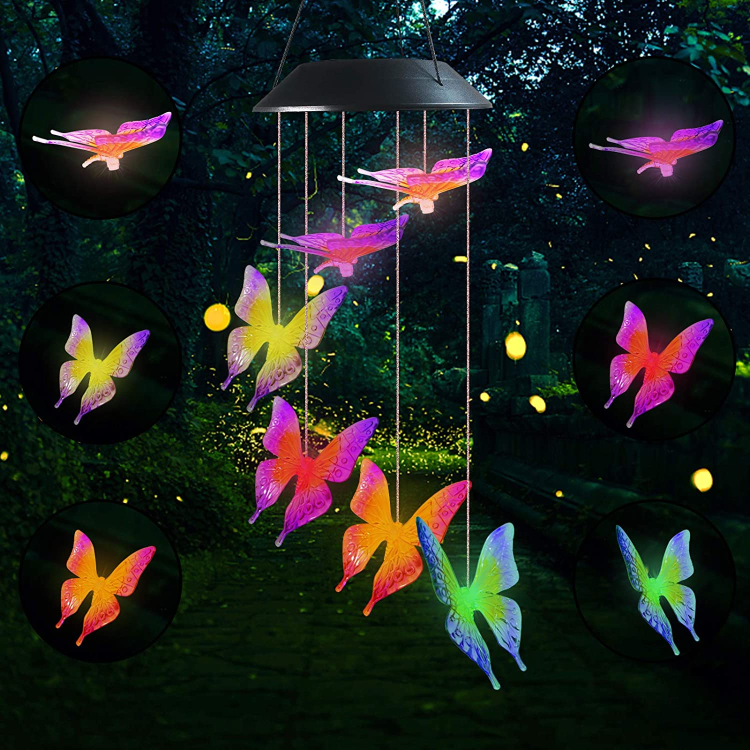 Famiry Solar Butterfly Wind Chimes for Outside, Wind Chimes Colors Changing Six Butterfly Waterproof LED Solar Light, Outdoor Decor for Garden, Patio, Yard, Home(Purple Yellow Butterfly)