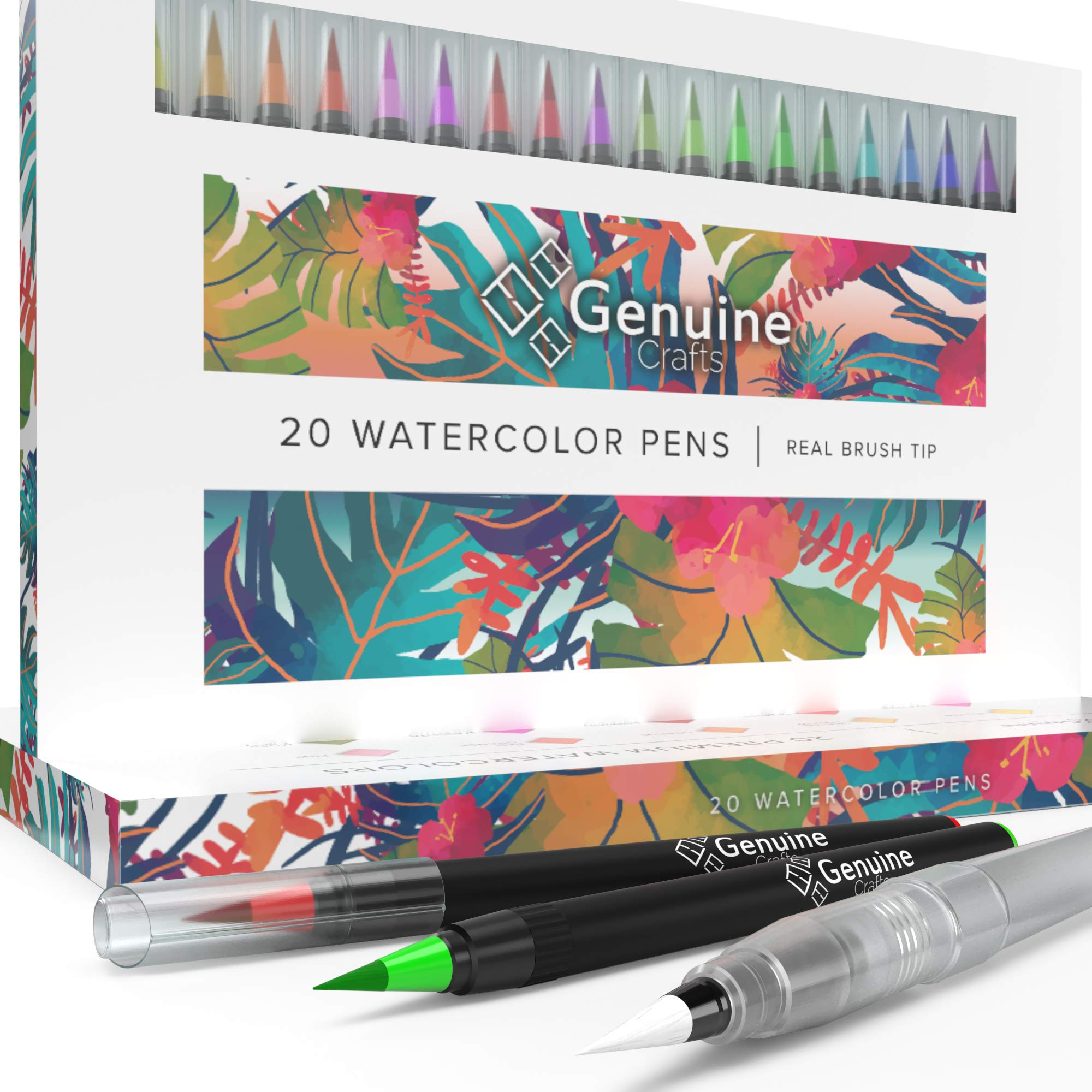 Watercolor Brush Pens by Genuine Crafts - Set of 20 Premium Colors - Real Brush Tips - 1 Refillable Water Pen - No Mess Storage Case - Washable Nontoxic Markers - Portable Painting by Genuine Crafts