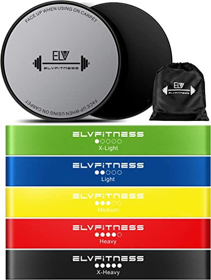 Professional Gliding Discs and Resistance Loop Bands Bundle