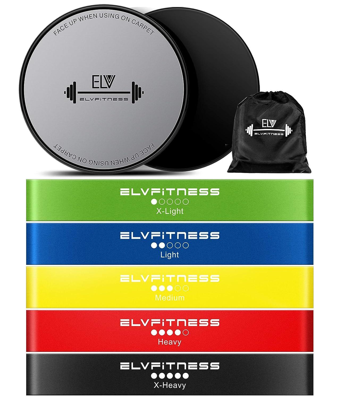 E LV抵抗ループバンドと練習スライダセットホーム&個人フィットネス機器| 5 + 2グライディングディスク|伸縮性バンドAwesomeコア、脚、ABS Workouts |物理療法&怪我防止   B07C1KVVQ9