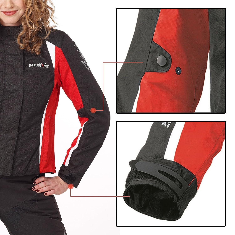 Unique-/Motorrad Damen Wasserdicht Jacke mit Protektoren Sommer Winter Textil Frauen Motorradjacke 44 schwarz-blau