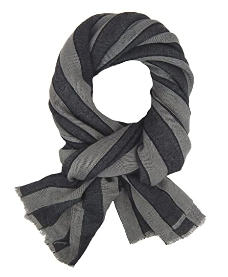 3b095c5531ec Ella Jonte Écharpes foulard d homme élégant et tendance Casual-style gris  noir coton