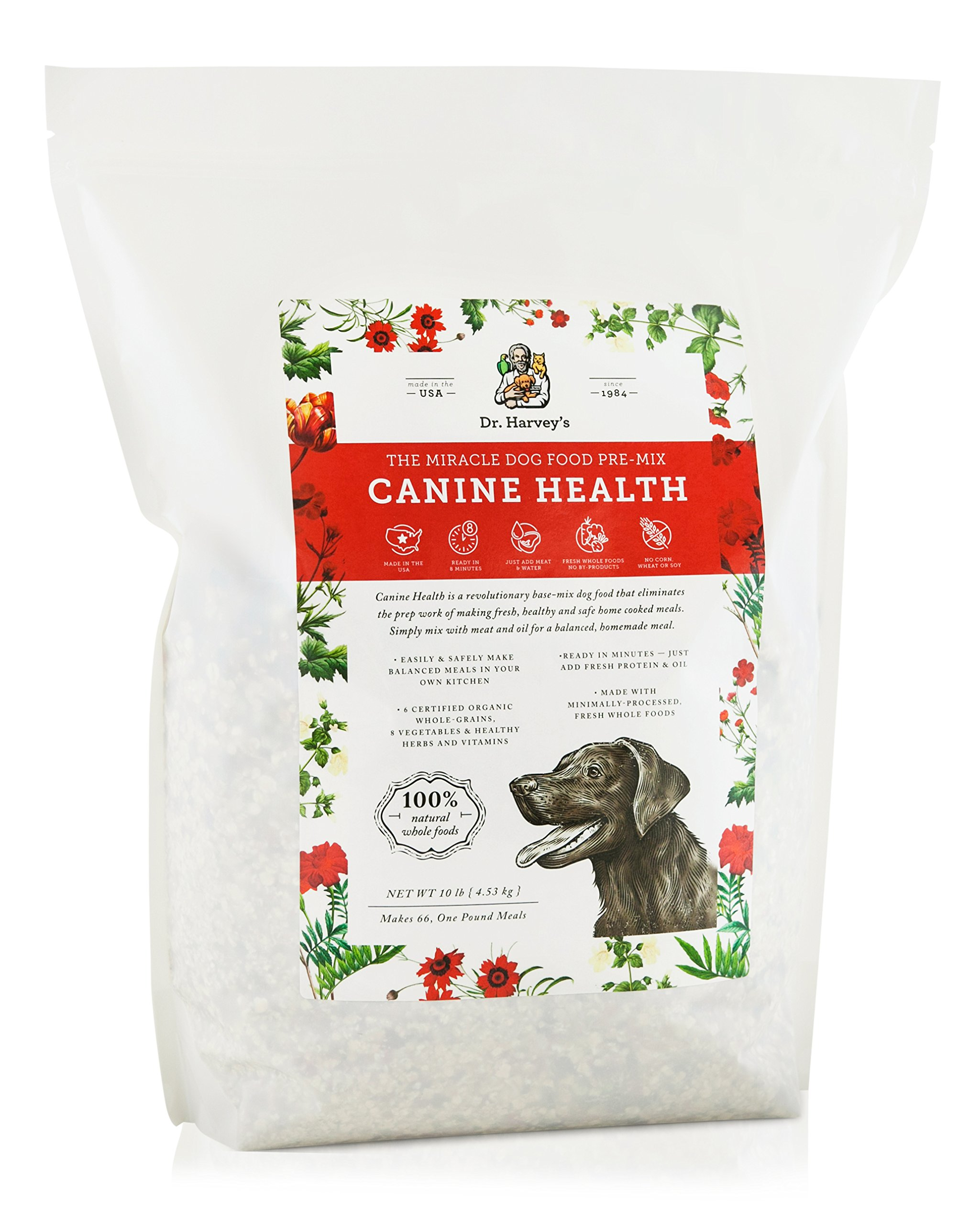 Dr. Harvey's Canine Health Miracle Dog Food, Human Grade Dehydrated Base Mix for Dogs with Organic Whole Grains and Vegetables (10 Pounds) by Dr. Harvey's