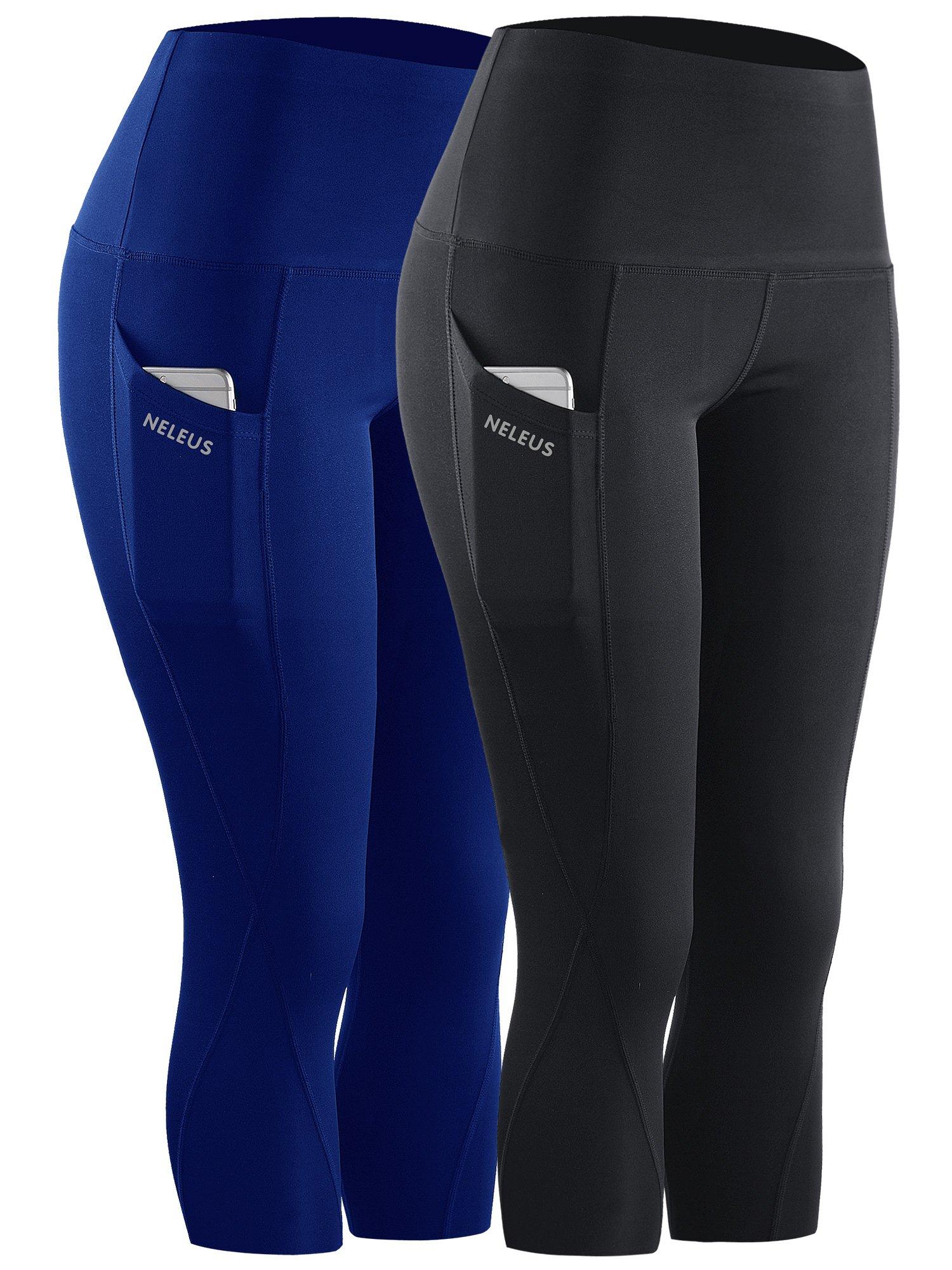 Neleus 2 Pack Tummy Control High Waist Workout Yoga Capri Leggings,9027,Black,Blue,S,EU M