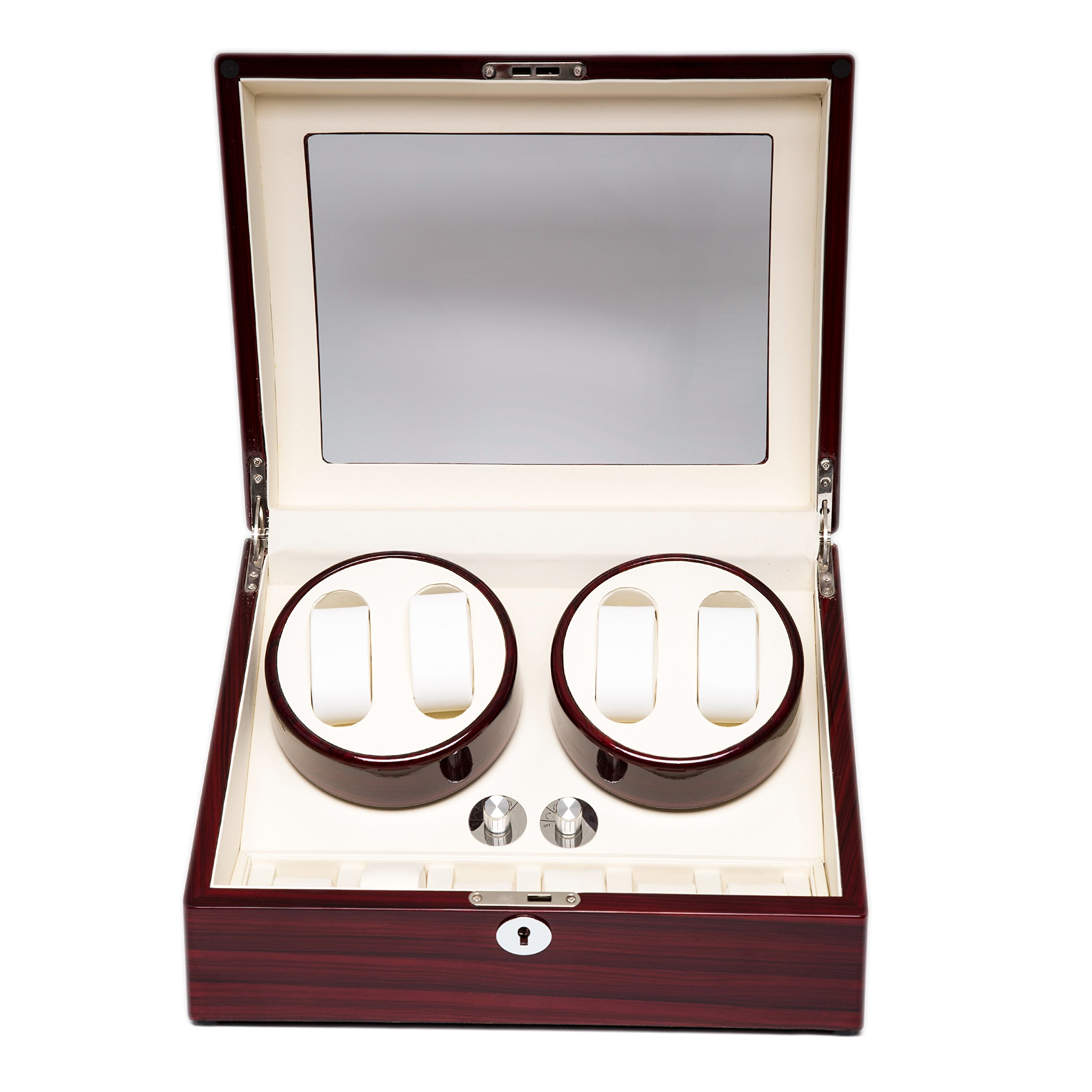 Wood 4+6 Watch Winder Mens Watches Box Storage Display Automatic Rotation Jewelry Case Organizer