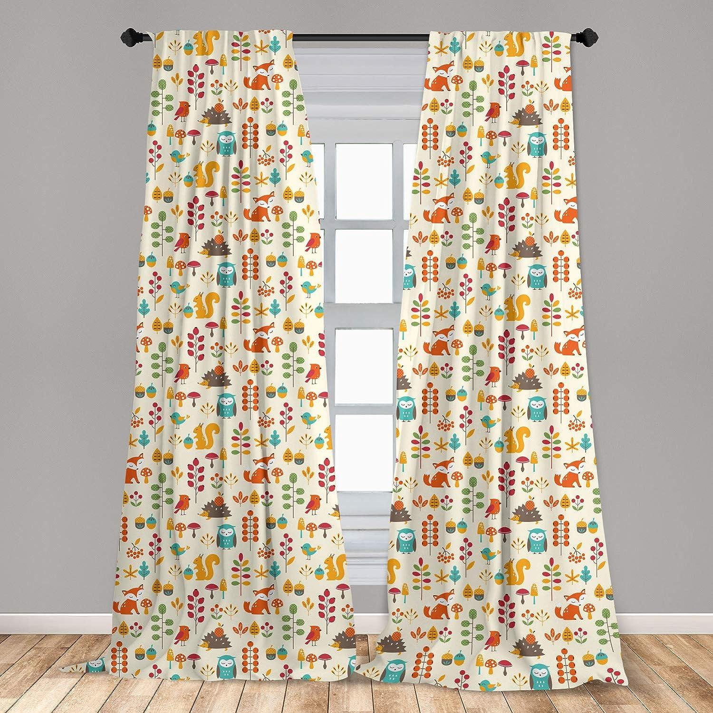 "Ambesonne Children Curtains, Kids Autumn Pattern with Owl Fox Squirrel Birds Animal Leaves Print, Window Treatments 2 Panel Set for Living Room Bedroom Decor, 56"" x 63"", Cream Orange"
