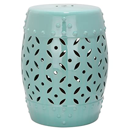 Safavieh Castle Gardens Collection Lattice Coin Ceramic Garden Stool,  Robins Egg Blue