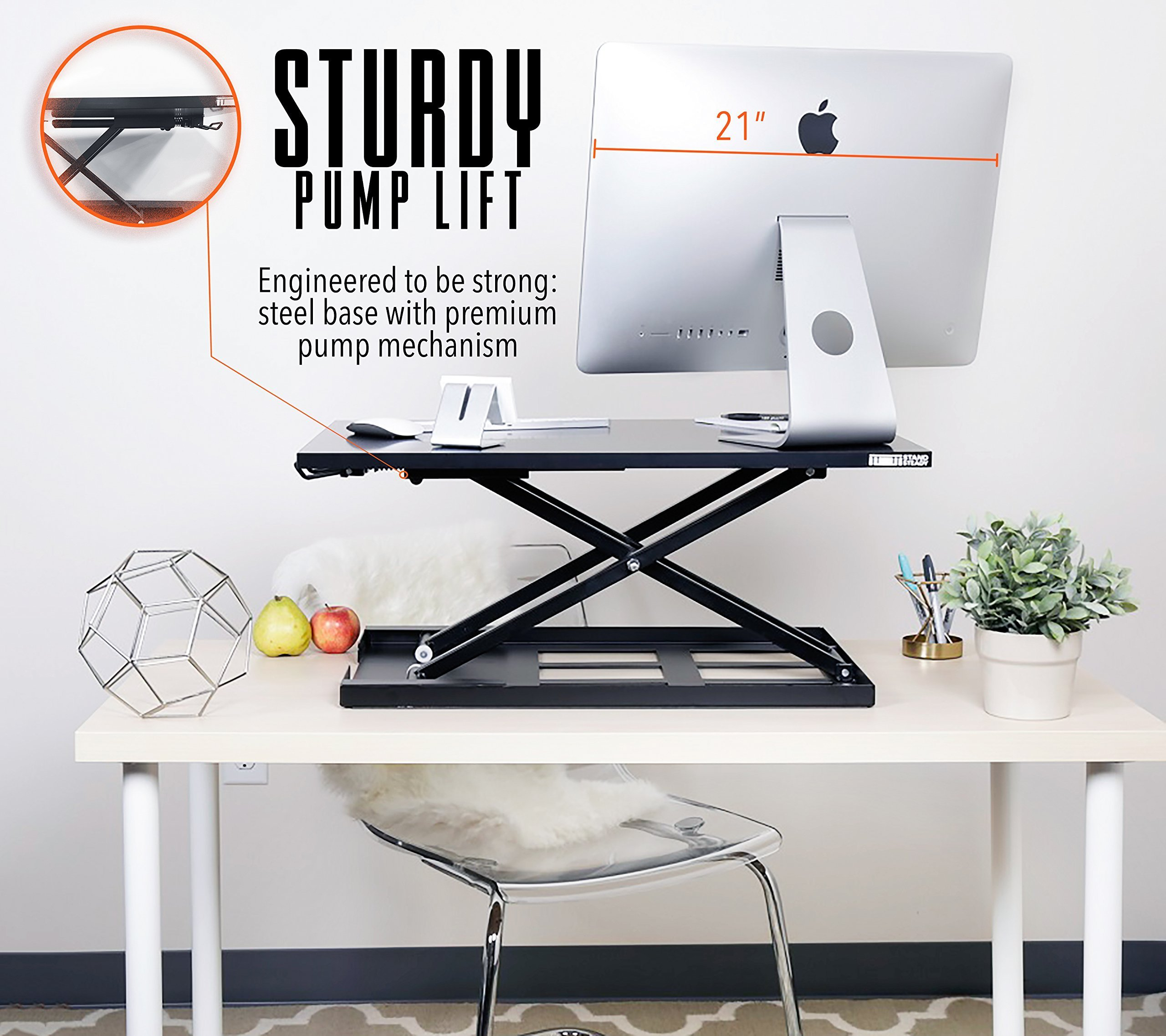 Standing Desk - X-Elite Pro Height Adjustable Desk Converter - Size 28in x 20in Instantly Convert any Desk to a Sit / Stand up Desk (Black) by Stand Steady (Image #4)
