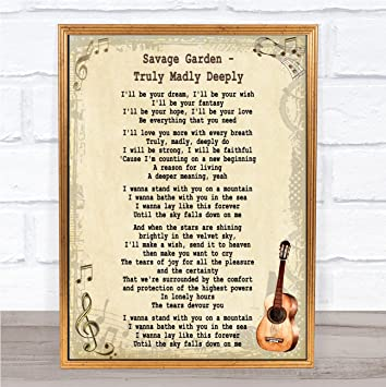 SAVAGE GARDEN Wedding Anniversary Personalised First Dance TRULY MADLY DEEPLY