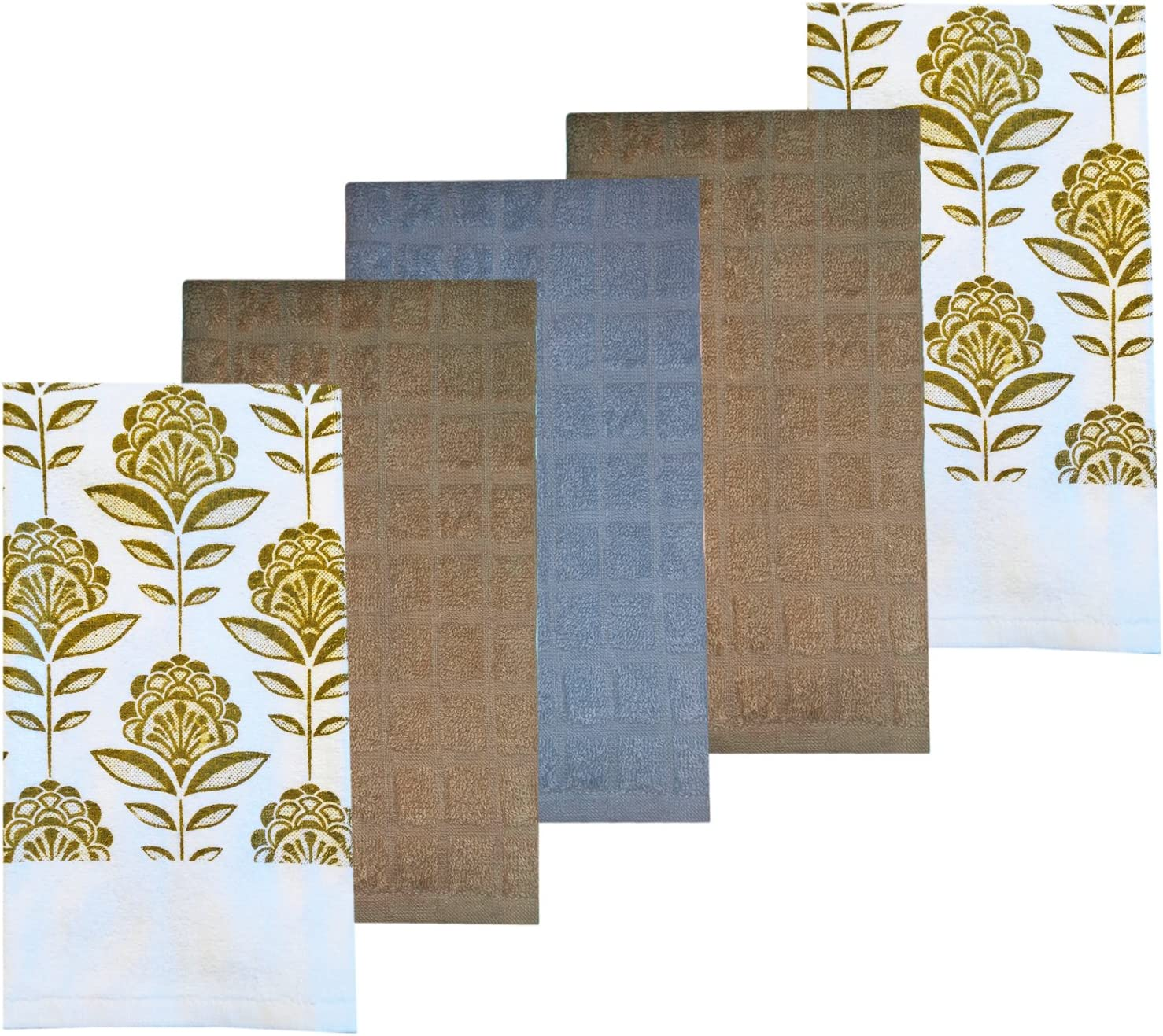 Home Bargains Plus Taupe Floral Leaf 5 Piece Colorful Print And Solid Cotton Kitchen Dish Towel Set 100 Absorbent Cotton Floral Leaf Home Kitchen