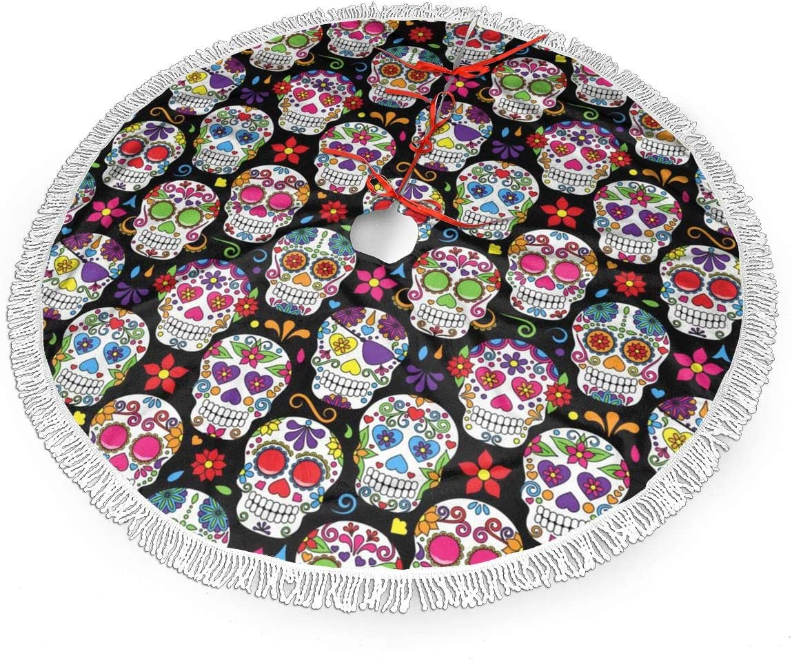 """WETG The Dead Sugar Skull 36"""" Christmas Tree Skirt for Decor, New Year Festive Holiday Party Decoration"""