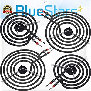 "Ultra Durable MP22YA Electric Range Burner Element Unit Set - 2 pcs MP15YA 6"" & 2 pcs MP21YA 8"" Replacement Part by Blue Stars - Exact Fit For Whirlpool Kenmore Jenn-Air Maytag Electric Range Stove"