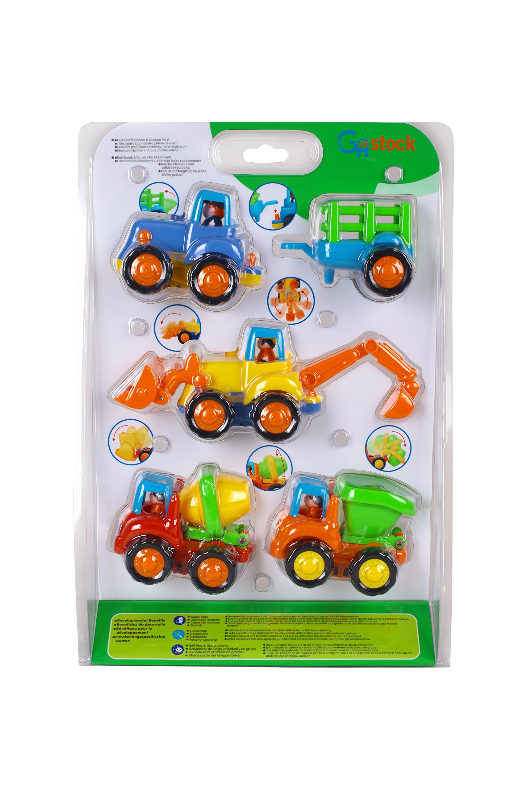 Friction Powered Cars Push and Go Car Construction Vehicles Toys Set of 4 Tractor,Bulldozer,Cement Mixer Truck,Dumper Push Back Cartoon Play for  2 3 Years Old Boys Toddlers Kids Gift by GoStock (Image #6)
