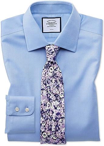 Charles Tyrwhitt Camisa Azul Celeste de Tejido Triangular ...