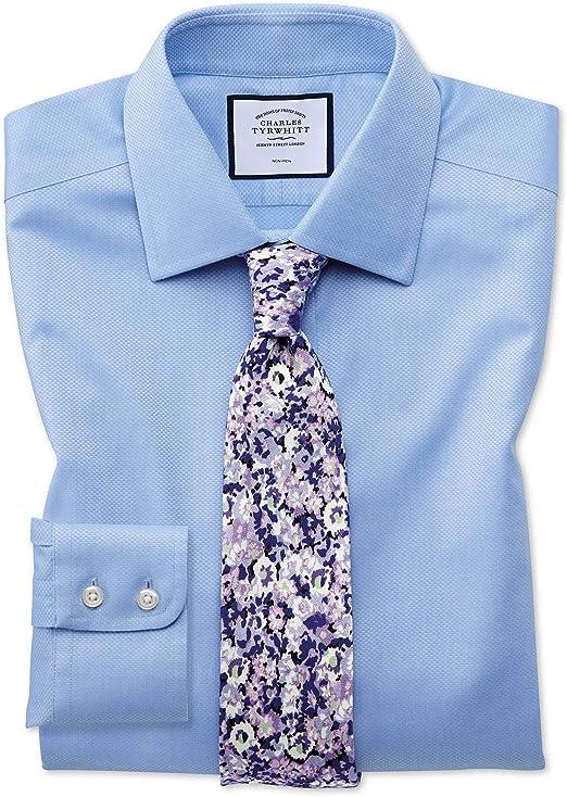 Charles Tyrwhitt Camisa Azul Celeste de Tejido Triangular Slim fit sin Plancha: Amazon.es: Ropa y accesorios