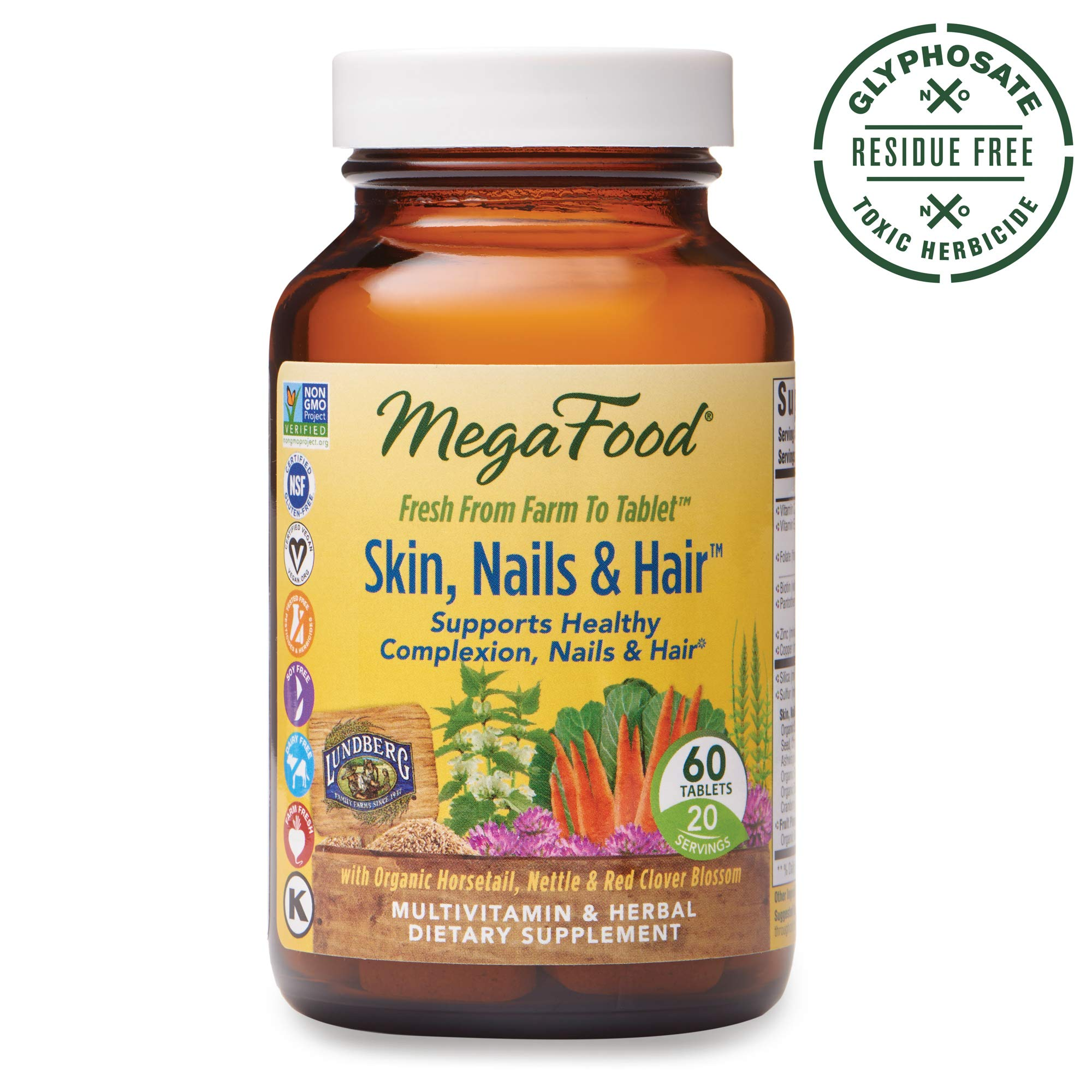MegaFood, Skin, Nails & Hair, Supports Healthy Complexion, Nails & Hair, Multivitamin & Herbal Dietary Supplement, Gluten Free, Vegan, 60 Tablets (20 Servings) (FFP) by MegaFood