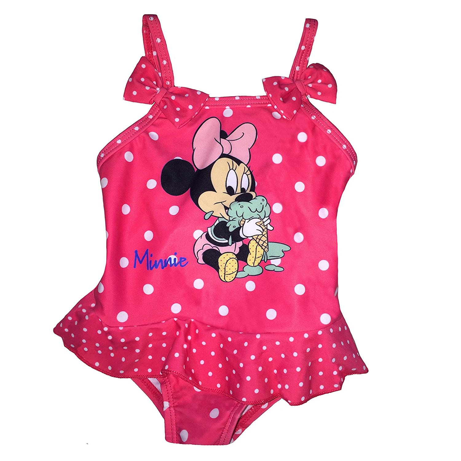 Minnie Costume da Bagno 6-9 - 12-18 - 24 Mesi Disney Estate 2018 Corallo)