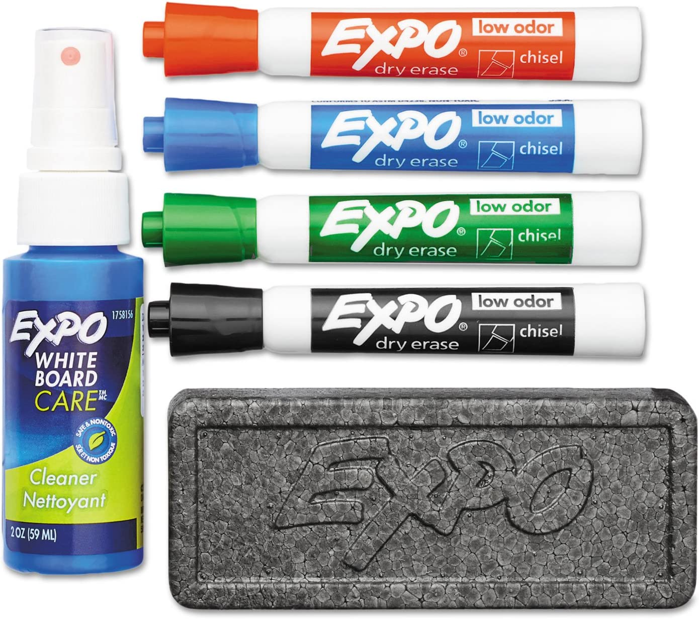EXPO 80653 Low Odor Dry Erase Marker Starter Set Chisel Assorted 4/Set