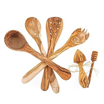 Juego de utensilios de cocina de madera de olivo de 6 hecho a mano - cuchara