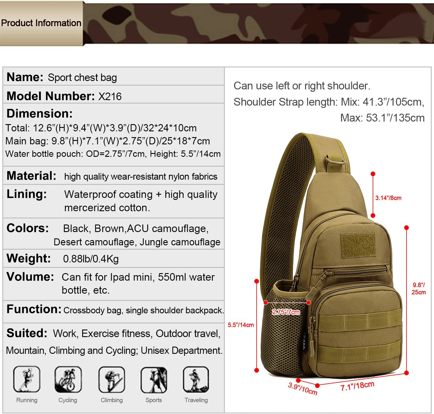 USB Outlet Include Huntvp Tactical Chest Bag with Water Bottle Pouch Molle Chest Sling Pack Backpack Crossbody Bag for Outdoors Daily Use