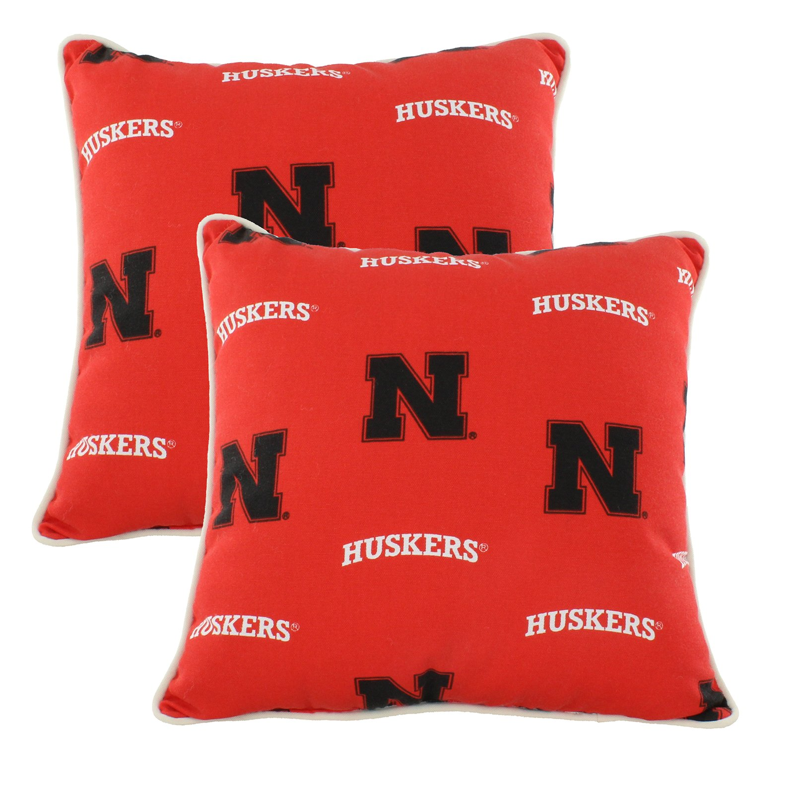 College Covers NEBODPPR Nebraska Huskers Outdoor Decorative Pillow Pair, 16'' x 16'', Red