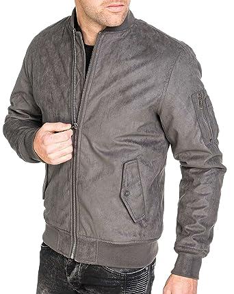 4ca11c1ca78c Gov denim - Blouson Bomber Homme suèdine Grise Tendance  Amazon.fr   Vêtements et accessoires