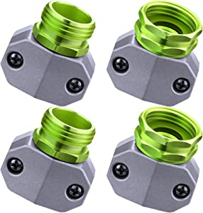4 Pieces Garden Hose Repair Fittings Aluminum Male and Female Hose Connector Repair Mender Suitable for 3/4 Inch or 5/8 Inch Home Garden Hose (Green)