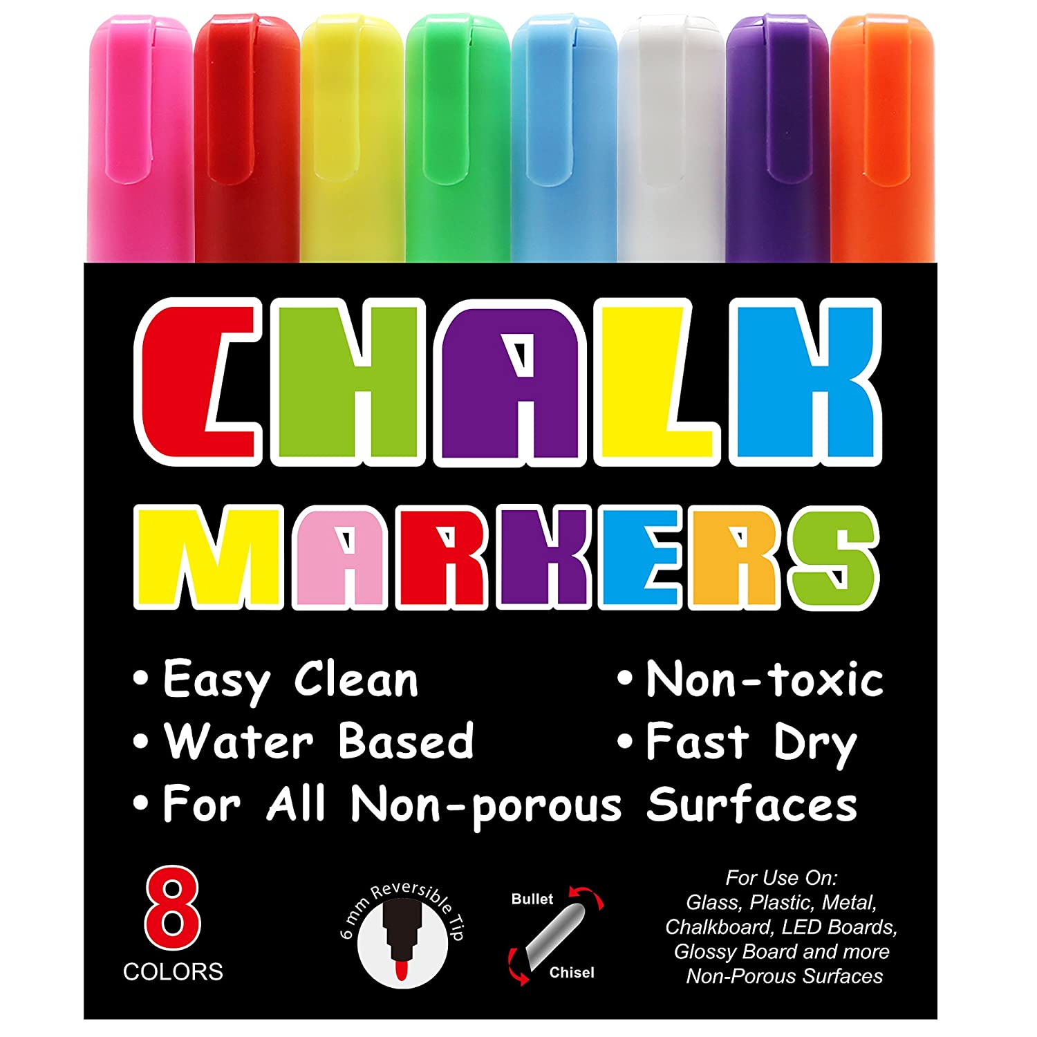 ParKoo Chalk Markers for Chalkboard - 8 Neon Color Pack with Free 24 Chalkboard Labels and 4 Reversible Tips - Non Toxic Wet Erase Chalkboard Window Glass Pen