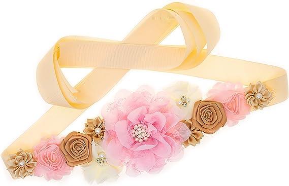 Baby Showers Vintage Belt //Belly Band Pink and Gold Maternity Sash Belt