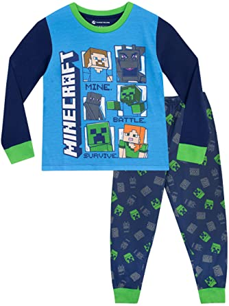 b58f0e8622db Minecraft Boys Pyjamas Steve   Creeper  Amazon.co.uk  Clothing