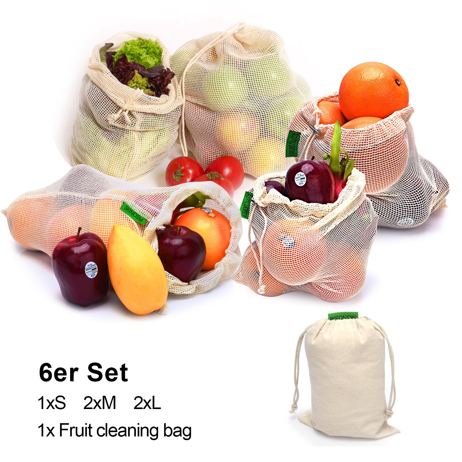 Premium Fruit and Vegetable Bags, Eco Bag, Reusable Shopping Bags, Natural Cotton Mesh, 6 Set,Different Size