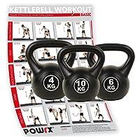 Kettlebell Kugelhantel Set inkl. Workout Kunststoff 4 kg 6 kg 10 kg