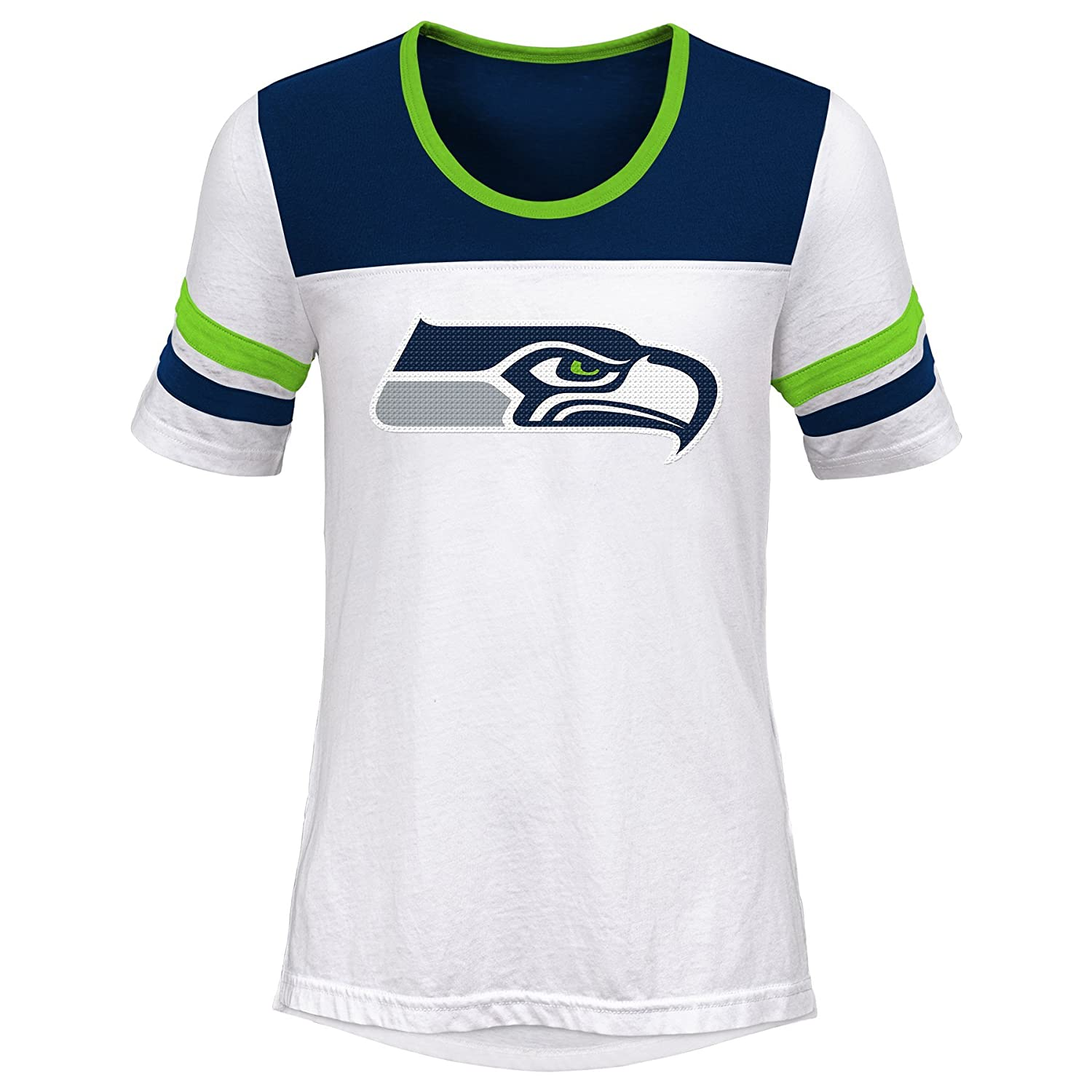 Youth Small 7-8 Outerstuff NFL NFL Seattle Seahawks Youth Girls Tail Back Short Sleeve Tee White