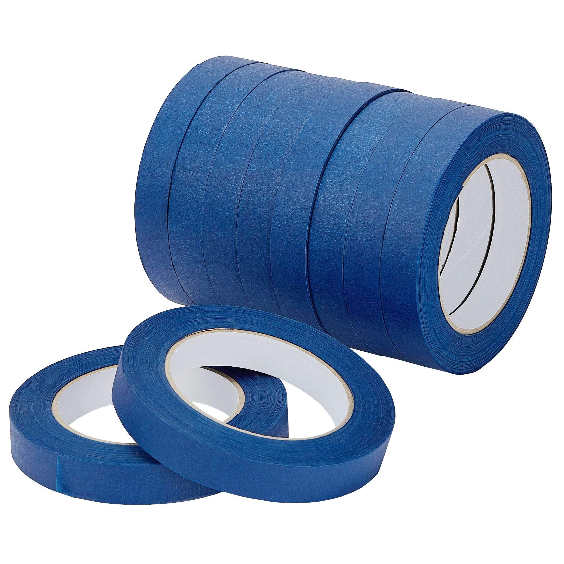 LICHAMP 10-Piece Blue Painters Tape 3/4 inch, Blue Masking Tape Bulk Multi Pack, 0.75 inch x 55 Yards x 10 Rolls (550 Total Yards) by Lichamp