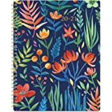 """2020-2021 Planner - Academic Weekly & Monthly Planner with Marked Tabs, 8"""" x 10"""", July 2020 - June 2021, Contacts + Calendar + Holidays, Twin-Wire Binding with Thick Paper - Navy Floral"""