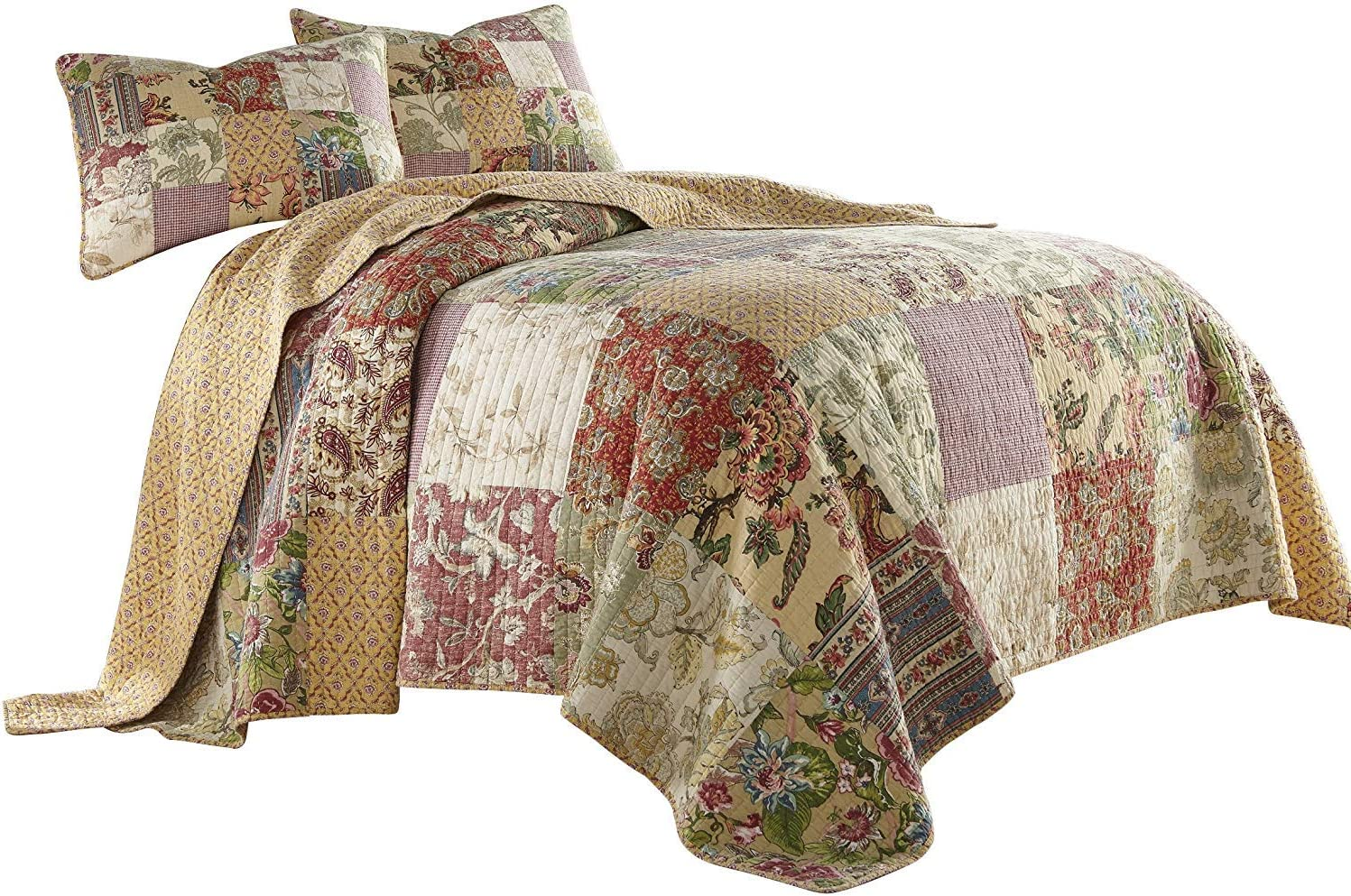 Chezmoi Collection Delaney 3-Piece Floral Patchwork Pre-Washed 100% Cotton Quilt Set, Queen